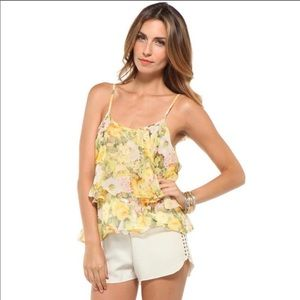 Lovers+Friends Yellow Floral Open Back Flounce Top